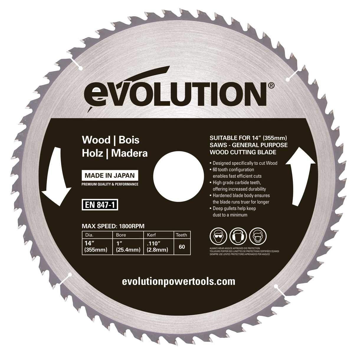 Evolution Power Tools 14BLADEWD 14-Inch Wood Cutting Blade